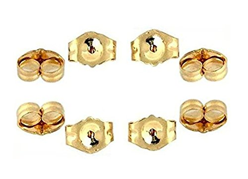 14K Yellow Gold Earring Backs Ear Locking (8 Piece) (Gold Yellow 14k Replacement)