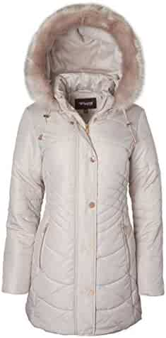 c6bbae05 Sportoli Women's Longer Length Plush Lined Puffer Coat and Zip-Off  Detacheable Fur Trim Hood