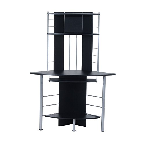 "HomCom 45"" Arch Tower Corner Computer Desk - Black Aosom Direct"