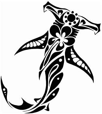 Cvxgdsfg 13.8cm*15.4cm tribal shark and hibiscus car styling sticker Color : White