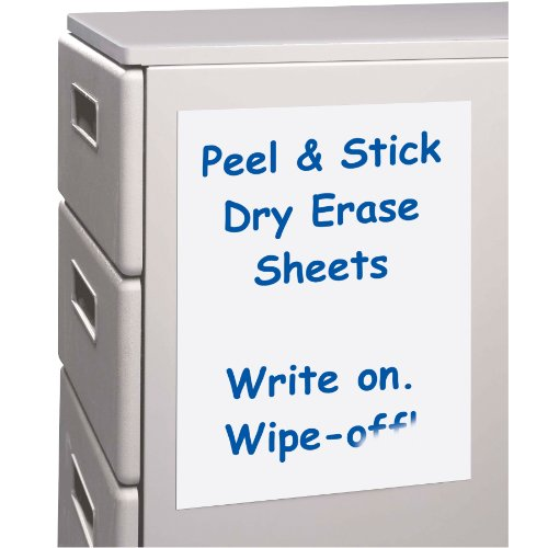 C-Line Peel and Stick Dry Erase Sheets, 11 x 8.5 Inches, 25 per Box (57911)