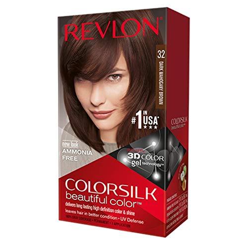 Revlon ColorSilk Hair Color, [32] Dark Mahogany Brown 1 ea (Pack of 3)