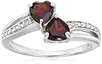 Sterling Silver, Diamond, and Gemstone Heart Ring