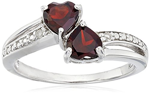 Sterling Silver Diamond Accent and Gemstone Heart Ring