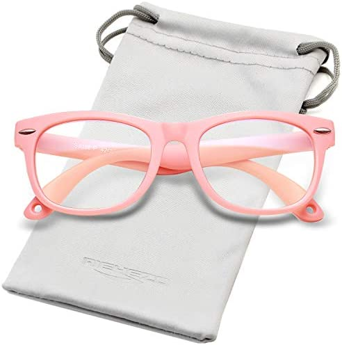 for Children Age 3-10 New Clear Pink, Pink Kids Blue Light Blocking Glasses Silicone Flexible Square Eyeglasses Frame with Glasses Rope