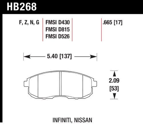 Hawk Performance HB268N.665 HP Plus Disc Brake Pad, Front