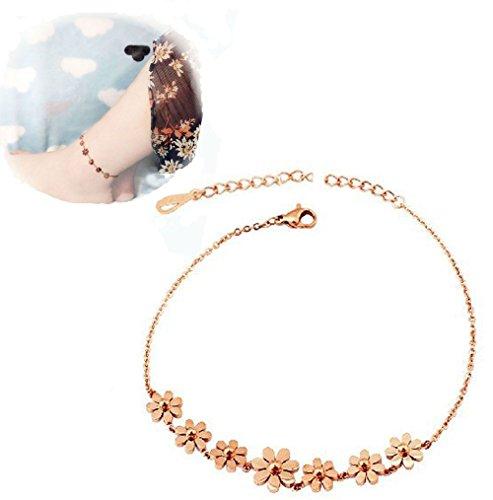 Mmiiss Daisy Flowers Anklet Bracelet for Women, Rose Gold Stainless Steel Adjustable Size, 10