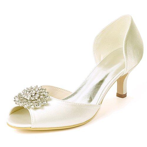 L@YC Women Wedding Shoes Satin Kitten Heels Rhinestones Peep Toe Side air High Heels/Ivory Ivory yzHuOB