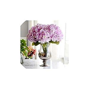 YP-fashion Artificial Flower Hydrangea 5 Heads Silk Hydrangea Bouquet for Wedding Party New Year Decoration Fake Flowers Home Decor,Light Purple 63