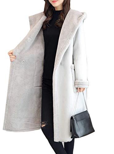 GenericWomen Fashion Faux Suede Lamb Wool Hoodies Moto Coat Shearling Jacket Light Grey XS