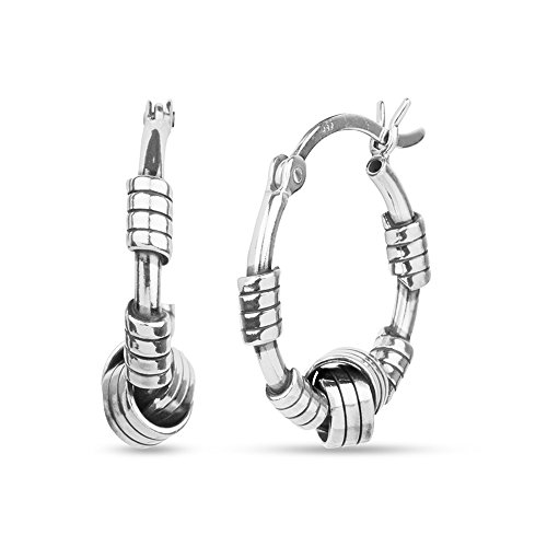 LeCalla Sterling Silver Jewelry Italian Design Bali Style Love Knot Ring Hoop Earrings for Kids and Girls by LeCalla (Image #1)