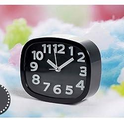 Digital Analog Alarm Clock Bedside Snooze Desk Quartz Clock Home Bedroom Office (Black)