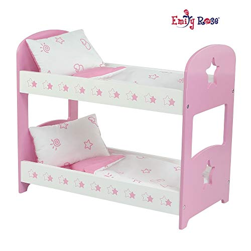 Emily Rose 18 Inch Doll Furniture for American Girl Dolls | Double Doll Bunk Bed, Includes Reversible Doll Bedding | Fits 18