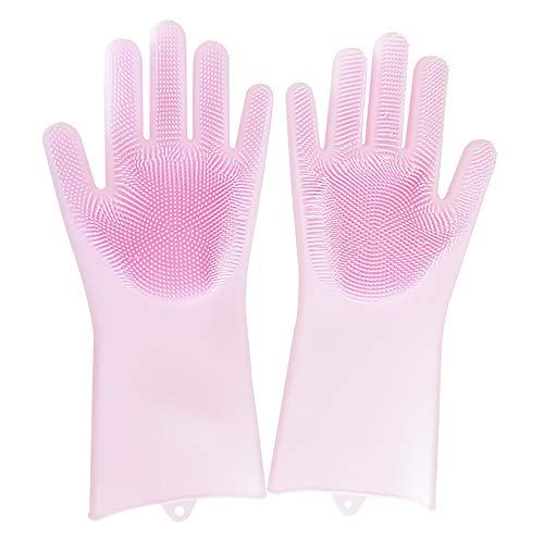 Marsoul MS-00033 123 Magic Saksak Gloves, Heat Resistant Reusable Brush Silicone Scrubber for Cleaning, Household, Dish Washing, Washin, Medium, Pink