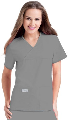 Urbane Scrubs 9534 Women's Double Pocket Crossover Top, Steel Grey, Small