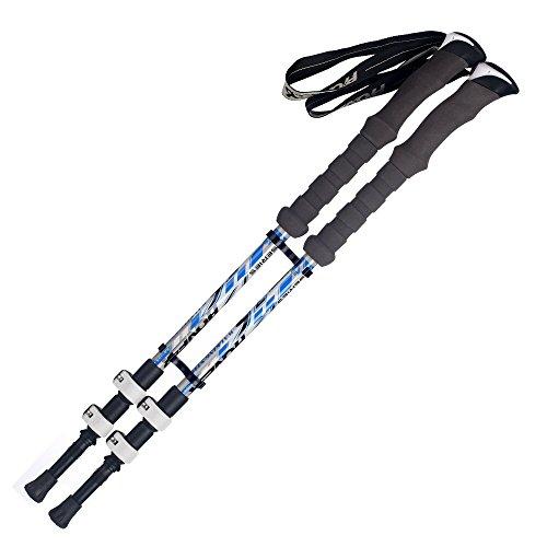 Adjustable Carbon Cork Anti Shock Hiking Walking Trekking Poles Collapsible Ultralight Hiking Sticks Perfect for Walking, Backpacking and Snowshoeing - 2 Pack