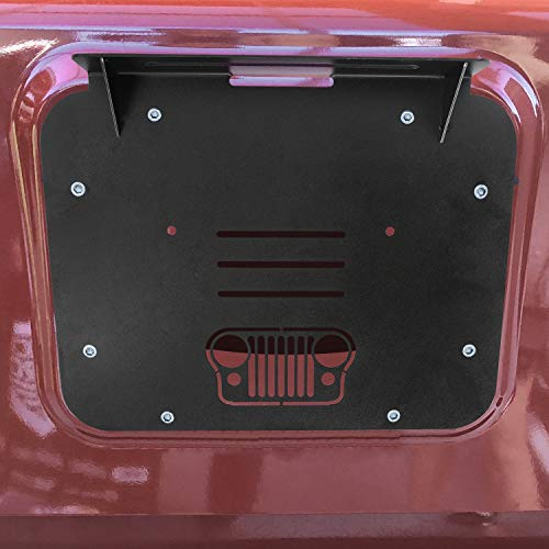 (TOPPOWER Spare Tire Carrier Delete Filler Plate Cover Tramp Stamp for 2007-2018 Jeep Wrangler JK JKU (Grille with High Mount Brake Light)