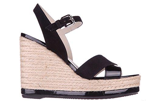 Dames Hogan Chaussures Sandales Wedge Chaussures Compensées En Cuir À Talons H286 Yuta Noir