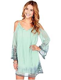 Swimsuit Coverup Shirt, Open Shoulder Short Beach Dress, Turquoise