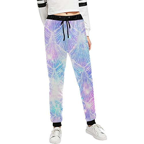 InterestPrint Galaxy Mermaid Custom Jogger Athletic Sweatpants With Pockets For Gym Running Yoga XS