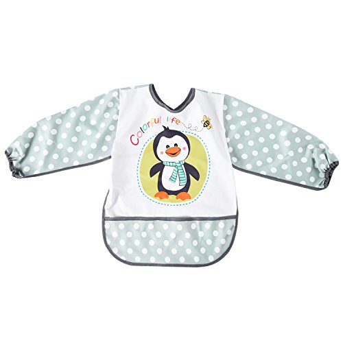 Mudder Baby Long Sleeve Bib Kids Waterproof Bib Cute Penguin Art Smock (1765 Art)