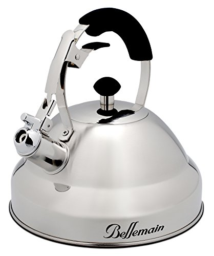 Extra Sturdy Surgical Stainless Steel Whistling Tea Kettle for Stovetop with Aluminum Layered Bottom 2.75 Quart Teapot by Bellemain