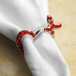 Muchos ZBHMB corazón anillo de servilleta Color, acero, cristal, 4,5 cm, 12 jadella,, Round-Green