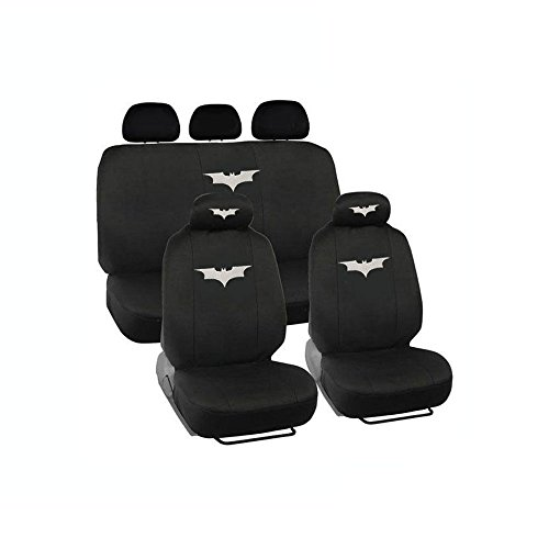 Universal Fit Automotive Gift Set Two Lowback Front Seat Covers, One Rear Bench Seat Cover - The Dark Knight -