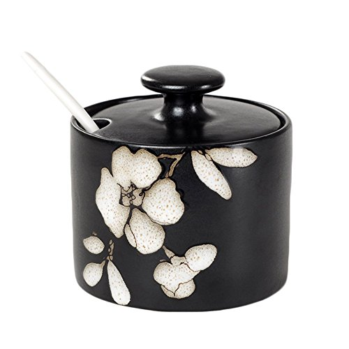 - Japanese Style Ceramic Floral Sugar Bowl with Lid and Spoon (Hibiscus)