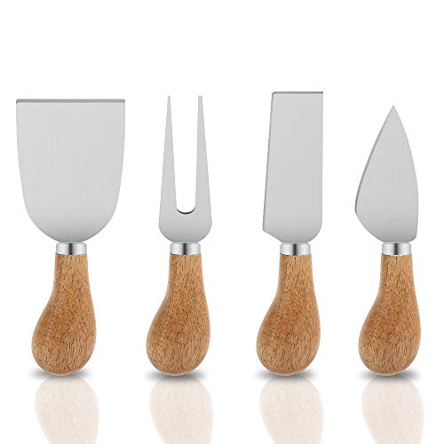 Freehawk 4 Pieces Set Cheese Knives with Bamboo Wood Handle Steel Stainless Cheese Slicer Cheese Cutter (Round Bamboo Handle)