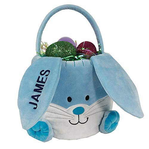 GiftsForYouNow Embroidered Plush Blue Bunny Personalized Easter Basket, 10