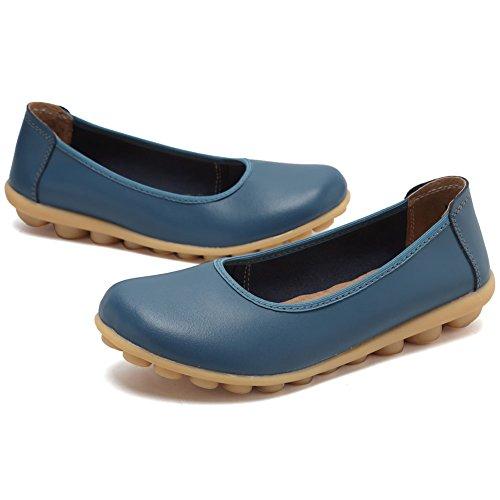 CIOR Damen Echtes Leder Loafers Casual Mokassin Fahr Schuhe Indoor Flache Slip-On Hausschuhe Blau