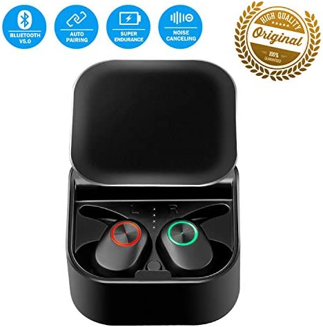 Bluetooth Headset Wireless Earbuds Bluetooth 5.0 Headphone Latest Auto Pairing Mini Size 360 Rotating Cover Stereo in-Ear Noise Canceling Earphone with Mic Charge Case for iOS Android Phone