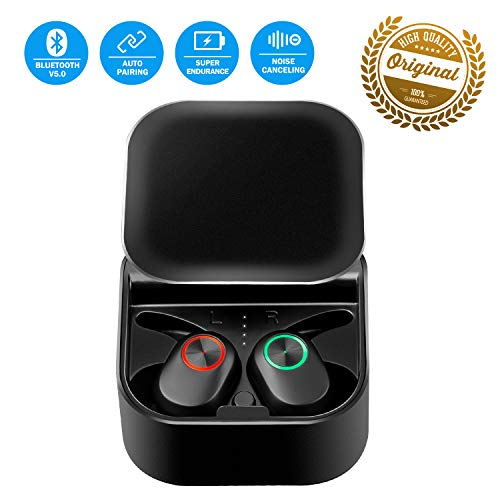 Bluetooth Headset Wireless Earbuds Bluetooth Headphone Latest V5.0 Auto Pairing Mini Size 360 Rotating Cover Stereo in-Ear Noise Canceling Earphone with Mic Charge Case for iOS Android Phone
