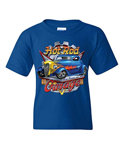 (Hot Rod Garage Youth T-Shirt Where Dreams are Built US Classic Rebuild Kids Tee Royal Blue S)