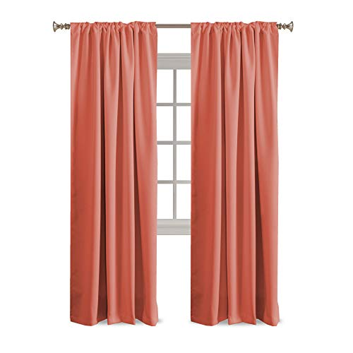 Blackout Curtains Thermal Insulated Window Curtains for Living Room/Bedroom Back Tab / Rod Pocket Home Decoration Draperies Energy Efficiency Panels for Kids Girls Room - Coral - 52