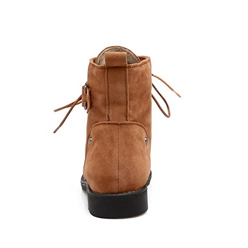 Heel Yellow Suede Bandage Boots ABL10600 Buckle No BalaMasa Womens UT8wXE