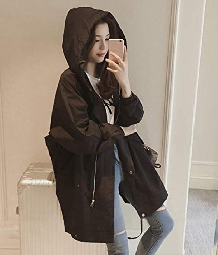 Coats Utility Zip Black Trench Full Mogogo Anorak Jacket Hood Womens Relaxed E7qXxvwxz