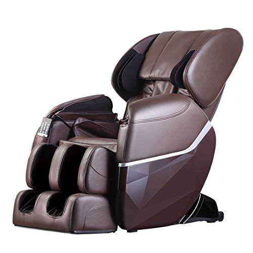 Zero Gravity Full Body Electric Shiatsu UL Approved Massage Chair Recliner with Built-in Heat Therapy and Foot Roller Air Massage System Stretch Vibrating for Home Office,Brown (Renewed)