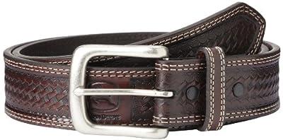 John Deere Men's Leather Removable Buckle Classic Bridle Belt