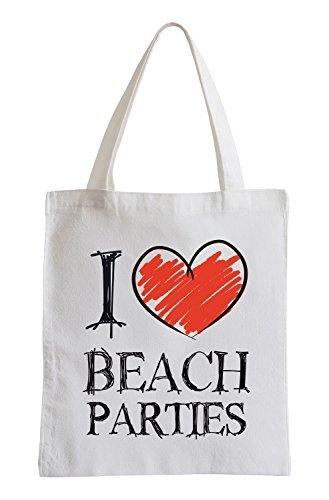 Amo feste in spiaggia Divertimento sacchetto di iuta