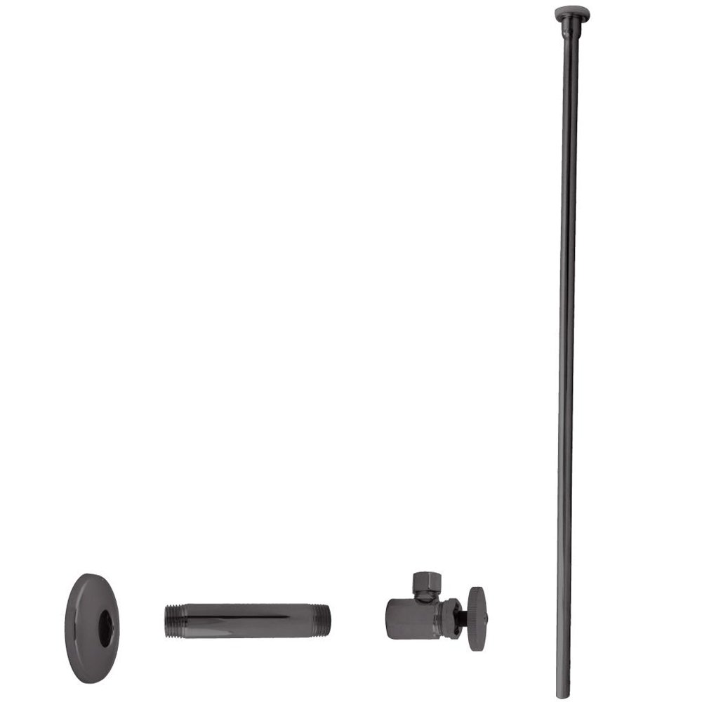 Westbrass Flat Head Toilet Kit with Round Handles, 1/2'' IPS x 3/8'' OD x 20'', Oil Rubbed Bronze, D103KFH-12