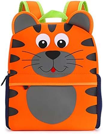 Hipiwe Little Kid Toddler Backpack Baby Boys Girls Kindergarten Pre School Bags Cute Neoprene Cartoon Backpacks for Children 3-7 Years Old (Tiger Large Size)