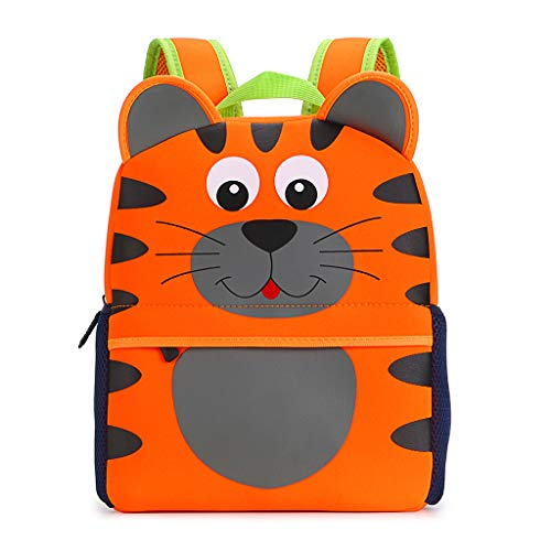 Hipiwe Little Kid Toddler Backpack Baby Boys Girls Kindergarten Pre School Bags Cute Neoprene Cartoon Backpacks for Children 3-7 Years Old (Tiger Large Size) ()