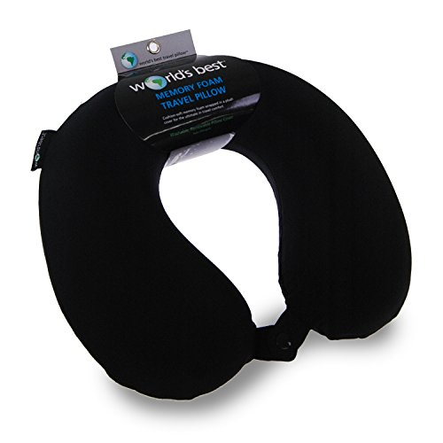 World 's Best Cushion-Soft Espuma de Memoria Almohada Cervical, Color Negro, Negro, 1