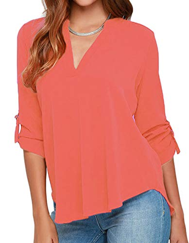 roswear Women's Casual V Neck Cuffed Sleeves Solid Chiffon Blouse Top Coral X-Large