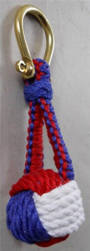 Nautical Monkey Fist Knot Key Chain, Red, White & Blue (Knot Key Chain)