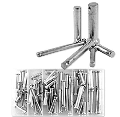 ExpertStores 60 PC STEEL LOOSE METAL CLEVIS PIN WITH HEAD ASSORTMENT SET TOOL KIT