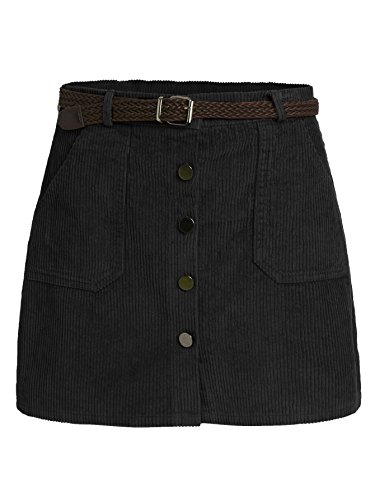 Romwe Women's Cute Mini Corduroy Button Down Pocket Skirt with Belt Black L ()