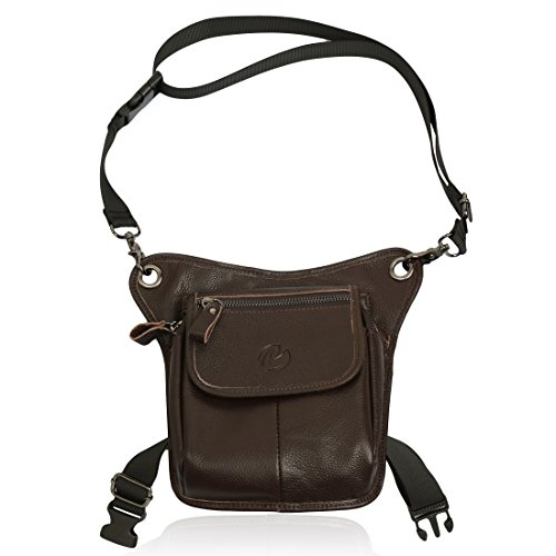 e-Holster Drop Leg Bag Genuine Leather with Tablet Pouch and Shoulder Strap (Brown) fits iPad Mini (Ipad Mini Holster)
